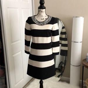 Ali Ro striped shift dress with jeweled neck